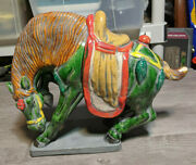Vintage 9 Chinese Tang Dynasty Style Ceramic Horse Figurine Statue Sculpture