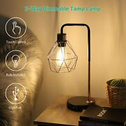 Edishine Industrial Table Lamp With Usb Ports Dimmable Bedside Nightstand Lamp