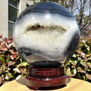 27.55lb Natural Agate Geode Ball Opening Laugh Quartz Stone Crystal Healing