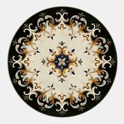 48 X 48 Inches Black Marble Inlay Sofa Table Top With Marquetry Art Dining Table