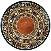 48 X 48 Inches Round Marble Dining Table With Geometrical Work Lawn Table Top