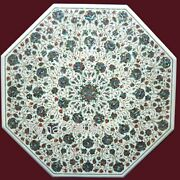30 Inches Marble Patio Table Top With Abalone Shell Stone Inlay Art Coffee Table