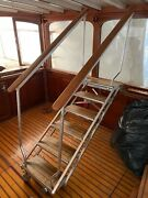 Marquipt Sea Stairs - 6 Stair Aluminum Folding Yacht Steps With Teak Accents