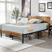 Vintage Style Full Queen Metal Platform Bed Frame Wooden Headboard And Footboard