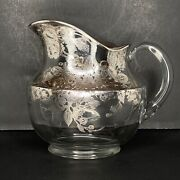 Vintage Cambridge Glass Silver Overlay Blossom Time Silver City Carafe Pitcher