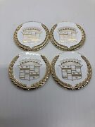 Caddy Zenith Wire Wheel 2.25 Metal Chip Emblem White And Gold Raised Wreath