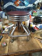 1955 Antique Drs Stool--rolls And Adjusts--awesome 50s Look--good Shape--rare
