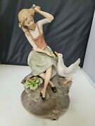 Figurine Made In Italy - Girl Feeding A Goose/ethan Allen Porcelain. No Chips