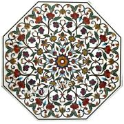 42 Inches Marble Dining Table Top With Floral Design Center Table For Home Decor