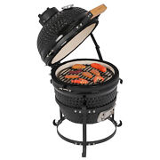 Kamado Ceramic Egg Style Bbq - 13and039and039 - Portable Grill - Built-in Thermometer