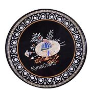 36 X 36 Inch Black Marble Dining Table Top Pietra Dura Art Patio Table For Lawn