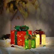 Set Of 3 Christmas Lighted Gift Boxes Decorations With 48 Lights Small Medium...