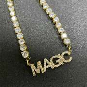 28 Ct Sim Diamond Custom Any Five Word Name Letter Tennis Necklace 925 Silver