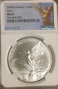 2002 Mexico Silver Libertad Ngc Ms67 Better Date White Gem