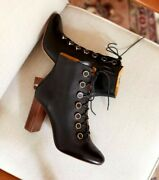 Sezane Pauline Boots Size 40 8.5-9 Black High Heel Leather Gold Button Victorian
