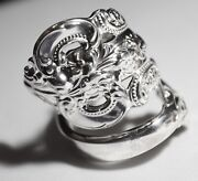 Wallace Grande Baroque Antique Sterling Silver Spoon Ring Free Ship Sz 7 Sizable