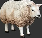 32 Tall Life Size White Sheep With Head Up Resin Statue Prop Display Figurine