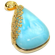 Great Quality Larimar From Dominican Republic 18k Gold Over .925 Sterling Silve
