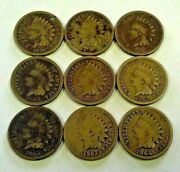 9 Copped Nickel Indian Cents 1859-1864 692