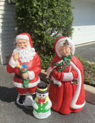 General Foam Mrs. Claus And Santa 40andrdquo + Snowman 19andrdquolighted Christmas Blow Mold