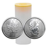 Roll 25 2021 Royal Canadian Mint Fine .999 Silver Maple Leaf Coins Free Ship