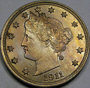 1911 Liberty Nickel Superb Gem Bu... With Very Neat Color A Super Nice Coin
