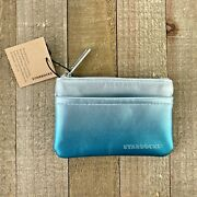 Starbucks Gift Card Pouch Coin Purse Ombre Shimmer Silver Teal Blue Zippered Nwt