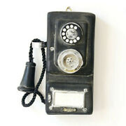 Antique Rotary Wall-mounted Pay Phone Model Vintage Booth Telephone Figurine Lhh