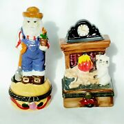 2 Trinket Boxes Farmer And Cat By Fireplace Porcelain 3.5 High Glossy Hinged Lid