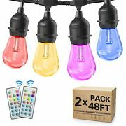 2-pack 48ft Outdoor String Lights Rgb Led String Lights Waterproof With Comme...