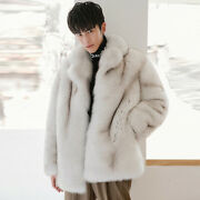 Real Fox Fur Jacket Menand039s Mid-length Grade Whole Leather New Fur One Coat Tide