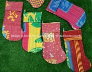 Cotton Christmas Stockings Indian Candy Gift Bags Handmade Vintage Kantha Quilt