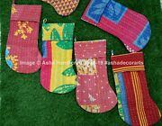 Indian Handmade Cotton Christmas Stockings Candy Gift Bags Vintage Kantha Quilt