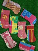 Indian Handmade Recycled Vintage Kantha Christmas Stockings Wholesale 5 Piece