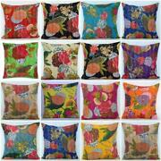 Indian 100 Cotton Cushion Covers Kantha Pillow Cases Square Sham Cover 100 Pc