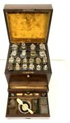 Antique Mahogany Campaign Apothecary Chest Cabinet Complete With Bottles Etc