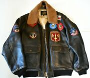 Vintage Top Gun Authentic G1 Bomber Menand039s Leather Topgun Brand-brown Size Xl