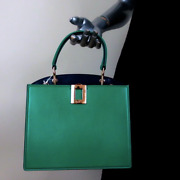 Roger Vivier So Vivier Mini Bag Green And Navy Leather Crossbody Tote New