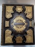 Andnbsp 1800s Antique Holy Bible Leather Bound Gold Embossed Illustrated