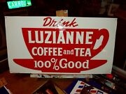 Luzianne Coffee And Tea Embossed Tin Sign