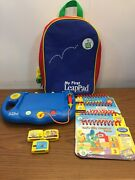 My First Leappad Leapfrog Learning System Blue With Cartridges, Books And Backpack