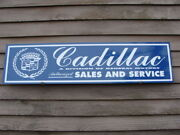 C.1970and039s-80and039s Cadillac Automobile Metal Dealer/service 1and039x46 Alum. Wall Ad/sign