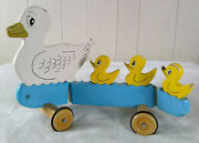 Unique Vintage Wooden Mother Duck And Ducklings Pull Toy