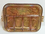 Indiana Carnival Glass - Divided Fruit 5 Section Relish Tray Iridescent Marigold
