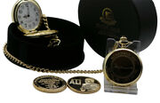 Signed Muhammad Ali 24k Clad Gold Pocket Watch And Boxing Gold Coin Luxury Gift
