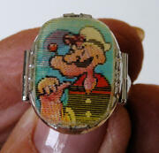1960's, Plastic Popeye And Alice The Goon, Adjustable Flicker Ring. N.o.s