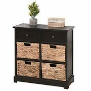 Storage Cabinet Retro Style Storage Chest 2 Wood Drawers And 4 Removable Wicker