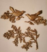 Vtg 1967 3 Pc. Authentic Syroco Bird And Dogwood Floral Wall Plaques