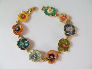 Joan Rivers Enamel And Crystal Hand Painted Pansy Flower Line Bracelet Gold Tone
