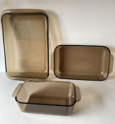 Pyrex Amber/brown Vision Ware Glass Bakeware Lot 233-n, 232-r And 213-r Preowned